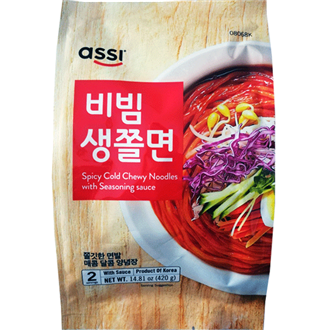 Assi Spicy Cold Chewy Noodles with Seasoning Sauce 2 Servings, Bibim Jjolmyeon 420g