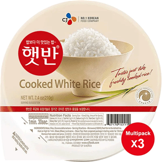 CJ Hetban Cooked White Rice Microwavable 3x210g